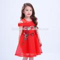 El mejor precio hermoso vestido rojo bordado estilo chino Big Girl Party Frocks