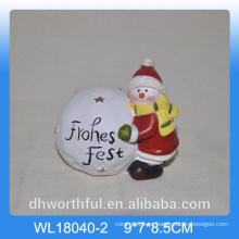 Decoración de cerámica de bola de nieve de Navidad con diseño de muñeco de nieve