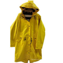 Amarillo Sólido Capucha Reflejo impermeable PU para las mujeres