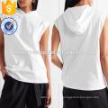 Top blanc à capuchon en jersey de coton OEM / ODM Fabrication de vêtements de mode en gros pour femmes (TA7007H)