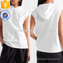 White Cotton Jersey Hooded Top OEM/ODM Manufacture Wholesale Fashion Women Apparel (TA7007H)