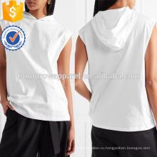Белый хлопок Джерси с капюшоном Топ OEM/ODM в производство Оптовая продажа женской одежды (TA7007H)