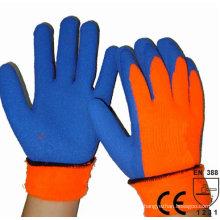 NMSAFETY acrílico com forro de fralda revestido luva de látex azul manter luvas de trabalho quente polegar mergulhado