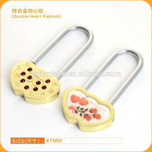 long shackle zinc alloy wish double heart padlocks