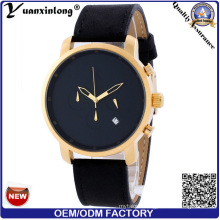 Yxl-168 Simple Design Vogue Wrist Watch Men Leather Watch Fashion Calendar Date Good Quality Custom OEM Watch Factory