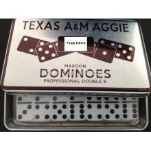 conjunto de dominó de marfim em caixa de ferro branco / caixa de lata