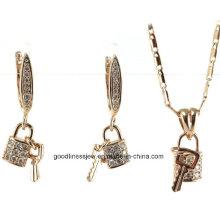 Förderung-Verkaufs-Großverkauf-Art- und Weisesilberne Schmucksachen 925 Sterlingsilber-Schmucksache-925 silberne Halskette + Ohrring-Schmucksache-Satz S3257