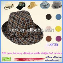 LSF05 Ningbo Lingshang 2014 Hermoso comprobado tela Fedora sombreros calientes