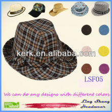 LSF05 Ningbo Lingshang 2014 Beautiful Checked Fabric Fedora warm hats