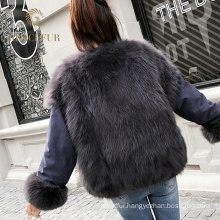 Luxury High Quality fox fur reversible coat jacket new style wholesale black fur coat