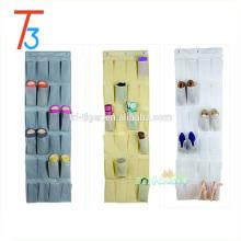 24 tecido de bolso pendurado sobre o organizador de armazenamento de porta pendurado organizador de sapato