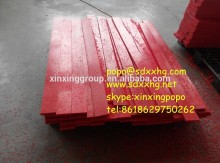 Red flat plastic polymer polyethylene wear strips