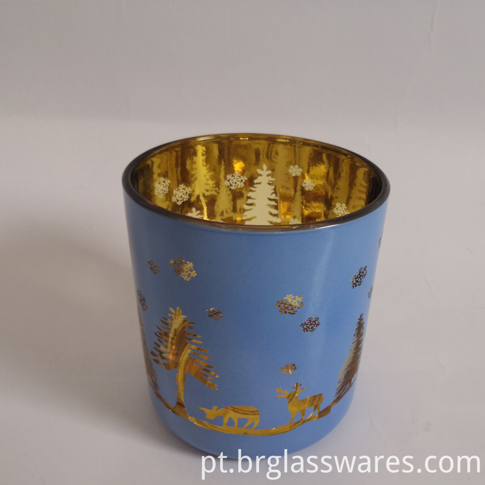 Christmas Candle Jar Blue