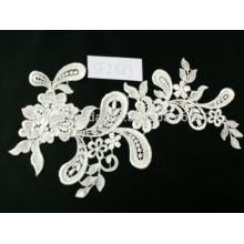 Moda de alta qualidade esticar vestido de casamento de flor branca rendas guipure laço de voile suíço