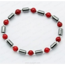 Hematite Bracelet with Red Coral round beads