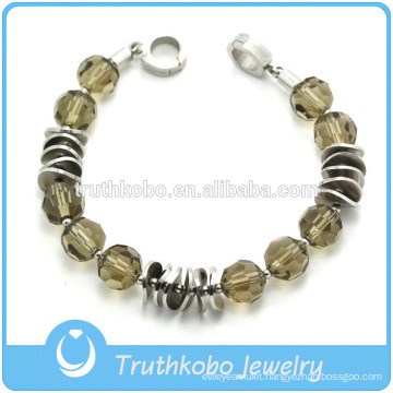 TKB-JB0106 Fashionable best-selling two tone with acrylic beads and coin shape metal 316L stainless steel bracelets & bangles