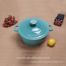 Non stick cast iron blue soup tureen