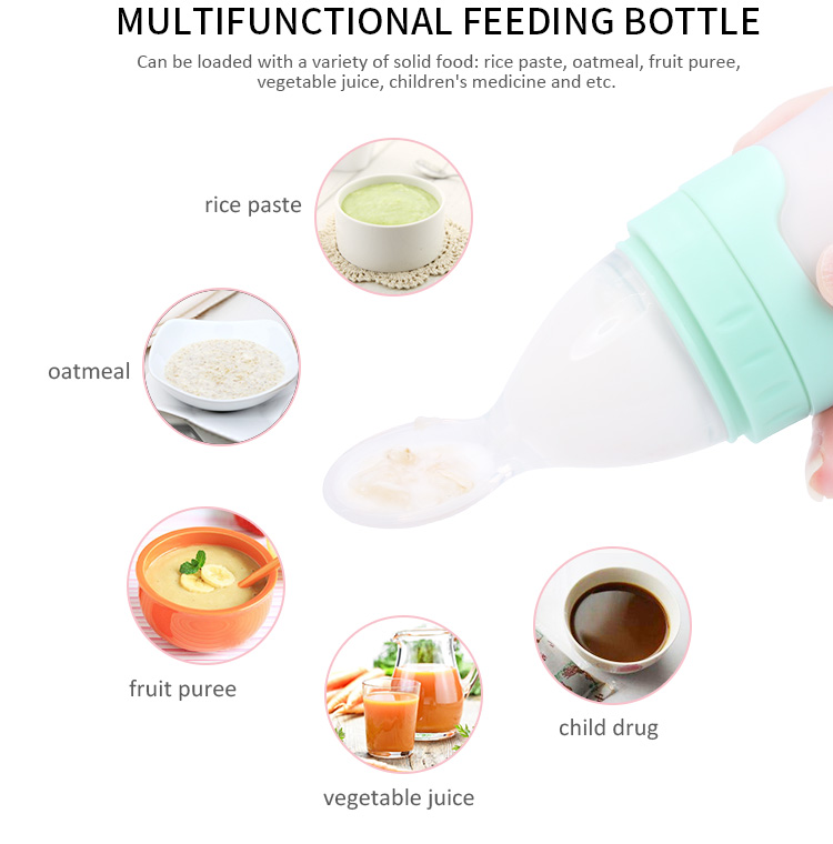 silicone feeding bottle with spoon