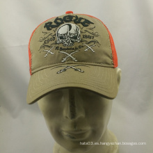 Dos colores de alta qulity gorra de béisbol al por mayor con el bordado del cráneo