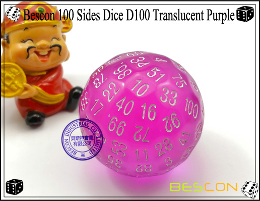 Bescon 100 Sides Dice D100 Translucent Purple-2