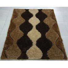 Die Bodenmatte mit Stretchgarn und Seide Schwarz Weiß Grau