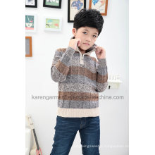 1/4 Zipper Striped Patterned Turtleneck Children Jumper