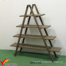 4 Tier prateleira escada de madeira dobrável Display