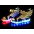 Unisex USB charging wing design high cut LED skate shoes for children