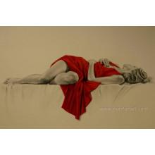 100% handgemachte Segeltuch-Kunst schlafendes nacktes Mädchen auf Segeltuch für Hauptdekoration (EBF-070)