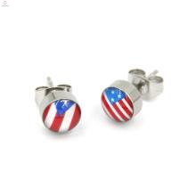 Petrol Dripping Stainless Steel Stud Flag Earrings