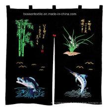 Cortina de porta personalizada promocional de peixe preto bordado restaurante japonês de algodão