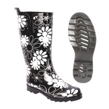 Customized Rubber Women Rain Boot with Flower print