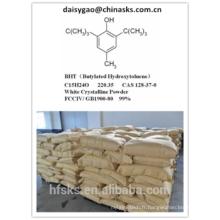 Vente chaude Butylated Hydroxytoluene BHT 128-37-0 à prix compétitif
