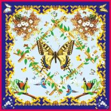 Модная цифровая шелковая печать с бабочкой