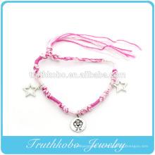 Los accesorios más vendidos imitan las pulseras ecológicas del encanto del corazón de aleación de zinc con hilos suaves de color rosa