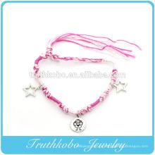 Melhor venda de acessórios de imitação de liga de zinco ecológico pulseiras coração charme com fios suaves rosa