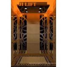 Ascenseur de passagers résidentiel avec décoration en or de titane