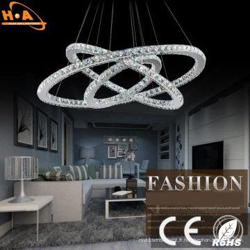 En gros moderne trois anneaux cristal lustre éclairage