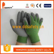 10 Gauge Green T / C Shell Grey Latex Foam Coating Guantes de trabajo Dkl412