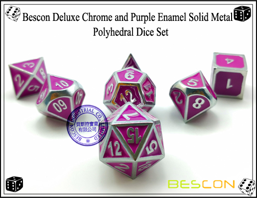Bescon Deluxe Chrome and Purple Enamel Solid Metal Polyhedral Role Playing RPG Game Dice Set (7 Die in Pack)-1