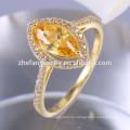 nuevo diseño champagne marquesa forma cz 925 anillo de plata esterlina