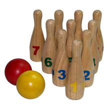 Traditional Shape Mini Wooden Bowling Set Toy For Sale