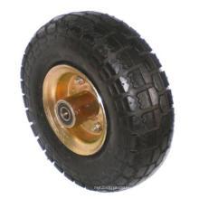 Rubber on Steel Pneumatic Single Wheel (Black)