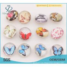Botones de botón de metal de patrón de mariposa, botón de presión de metal de prensa de 18 mm