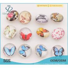 Boutons en métal en forme de papillon, boutons-pression en métal de 18 mm