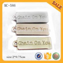MC586 etiquetas para joyería colgante de oro pequeñas etiquetas personalizadas joyas de metal para pulsera / collar