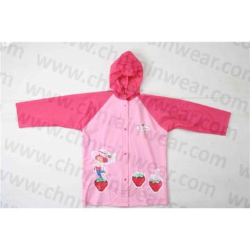 Cute Fashion Design Girl′s PVC Rain Jacket
