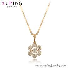 44926 Xuping 18k banhado a ouro floco de neve forma de moda dançando colar de pedra