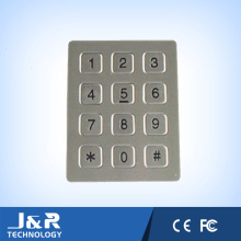 12 flache Tasten Telefon Tastatur, Edelstahl Telefon Tastatur, Anti-Vandal Telefon Tastatur