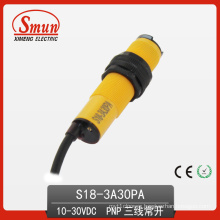 Photoelectric Switch (S18-3A-30PA) Photoelectric Sensor 10-30VDC Diffused Reflection Type Normal Open 30cm Detection Distance